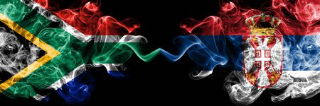 South Africa vs Serbia, Serbian smoky mystic flags placed side by side. Thick colored silky abstract smoke flags concept Stock fotó