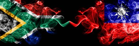 South Africa vs Taiwan, Taiwanese smoky mystic flags placed side by side. Thick colored silky abstract smoke flags concept