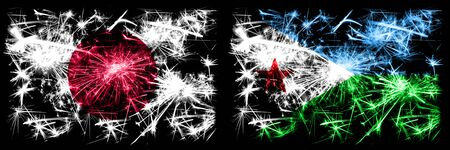 Japan, Japanese vs Djibouti New Year celebration sparkling fireworks flags concept background. Combination of two abstract states flags.