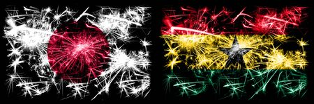Japan, Japanese vs Ghana, Ghanaian New Year celebration sparkling fireworks flags concept background. Combination of two abstract states flags.