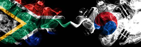 South Africa vs South Korea, Korean smoky mystic flags placed side by side. Thick colored silky abstract smoke flags concept Stock fotó