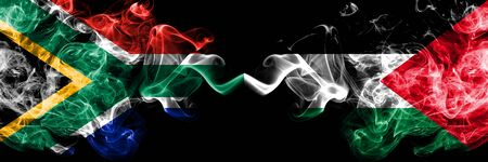 South Africa vs Palestine, Palestinian smoky mystic flags placed side by side. Thick colored silky abstract smoke flags concept