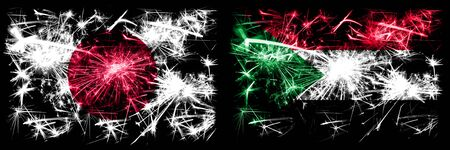 Japan, Japanese vs Sudan, Sudanese New Year celebration sparkling fireworks flags concept background. Combination of two abstract states flags. Stock fotó