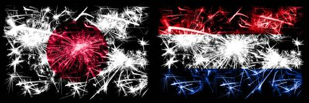 Japan, Japanese vs Netherlands, Dutch New Year celebration sparkling fireworks flags concept background. Combination of two abstract states flags. Stock fotó
