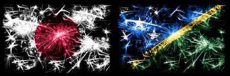 Japan, Japanese vs Solomon Islands New Year celebration sparkling fireworks flags concept background. Combination of two abstract states flags.