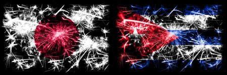 Japan, Japanese vs Cuba, Cuban New Year celebration sparkling fireworks flags concept background. Combination of two abstract states flags.