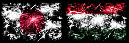 Japan, Japanese vs Hungary, Hungarian New Year celebration sparkling fireworks flags concept background. Combination of two abstract states flags. Stock fotó