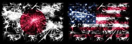 Japan, Japanese vs United States of America, American, USA New Year celebration sparkling fireworks flags concept background. Combination of two abstract states flags. Stock fotó