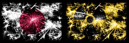 Japan, Japanese vs Nuclear, radioactive, radiation, hazard New Year celebration sparkling fireworks flags concept background. Combination of two abstract states flags. Stock fotó