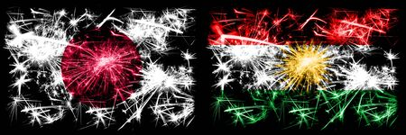 Japan, Japanese vs Kurdistan, Kurdish New Year celebration sparkling fireworks flags concept background. Combination of two abstract states flags.