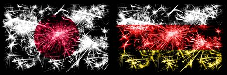Japan, Japanese vs South Ossetia New Year celebration sparkling fireworks flags concept background. Combination of two abstract states flags.