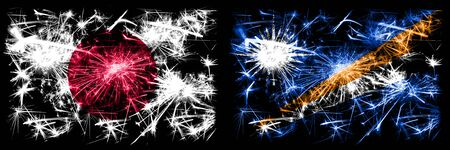 Japan, Japanese vs Marshall Islands New Year celebration sparkling fireworks flags concept background. Combination of two abstract states flags. Stock fotó