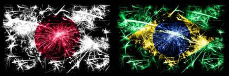 Japan, Japanese vs Brazil, Brazilian New Year celebration sparkling fireworks flags concept background. Combination of two abstract states flags.