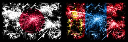 Japan, Japanese vs Mongolia, Mongolian New Year celebration sparkling fireworks flags concept background. Combination of two abstract states flags. Stock fotó