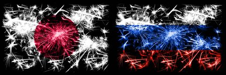 Japan, Japanese vs Russia, Russian New Year celebration sparkling fireworks flags concept background. Combination of two abstract states flags. Stock fotó
