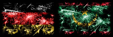 Germany, German vs Mauritania, Mauritanian New Year celebration travel sparkling fireworks flags concept background. Combination of two abstract states flags.