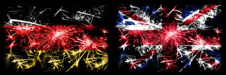 Germany, German vs United Kingdom, British, Britain New Year celebration travel sparkling fireworks flags concept background. Combination of two abstract states flags. 版權商用圖片