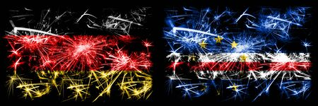 Germany, German vs Cape Verde New Year celebration travel sparkling fireworks flags concept background. Combination of two abstract states flags. 版權商用圖片