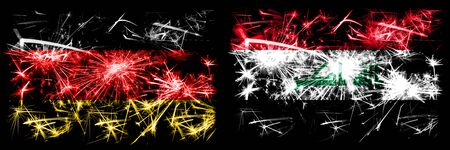 Germany, German vs Iraq, Iraqi New Year celebration travel sparkling fireworks flags concept background. Combination of two abstract states flags.