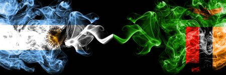 Argentina vs Zambia, Zambian smoky mystic fire flags placed side by side. Thick colored silky abstract smoke flags concept