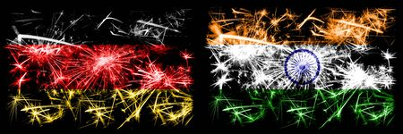 Germany, German vs India, Indian New Year celebration travel sparkling fireworks flags concept background. Combination of two abstract states flags. 版權商用圖片