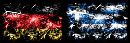 Germany, German vs Greece, Greek New Year celebration travel sparkling fireworks flags concept background. Combination of two abstract states flags.