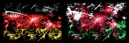 Germany, German vs Wales, Welsh New Year celebration travel sparkling fireworks flags concept background. Combination of two abstract states flags.