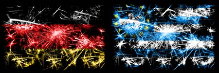 Germany, German vs South Cameroon New Year celebration travel sparkling fireworks flags concept background. Combination of two abstract states flags.