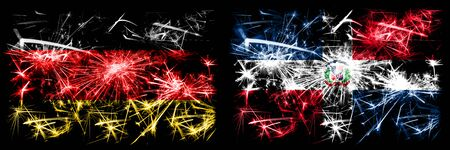 Germany, German vs Dominican Republic New Year celebration travel sparkling fireworks flags concept background. Combination of two abstract states flags. Stock Photo