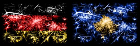 Germany, German vs Kosovo, Serbia New Year celebration travel sparkling fireworks flags concept background. Combination of two abstract states flags.