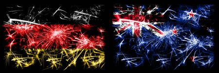 Germany, German vs New Zealand, New Zealander New Year celebration travel sparkling fireworks flags concept background. Combination of two abstract states flags.