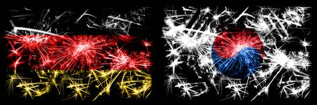 Germany, German vs South Korea, Korean New Year celebration travel sparkling fireworks flags concept background. Combination of two abstract states flags.