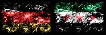 Germany, German vs Syria, Syrian Arab Republic, three stars, observed New Year celebration travel sparkling fireworks flags concept background. Combination of two abstract states flags. 版權商用圖片