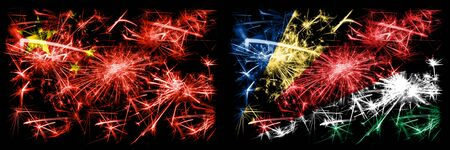 China, Chinese vs Seychelles, Seychelloise New Year celebration travel sparkling fireworks flags concept background. Combination of two abstract states flags.