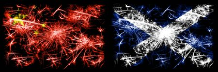 China, Chinese vs Scotland, Scottish New Year celebration travel sparkling fireworks flags concept background. Combination of two abstract states flags. 版權商用圖片