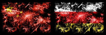 China, Chinese vs South Ossetia New Year celebration travel sparkling fireworks flags concept background. Combination of two abstract states flags.
