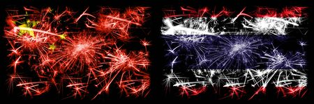 China, Chinese vs Thailand, Thai New Year celebration travel sparkling fireworks flags concept background. Combination of two abstract states flags.