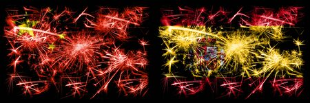 China, Chinese vs Spain, Spanish New Year celebration travel sparkling fireworks flags concept background. Combination of two abstract states flags.