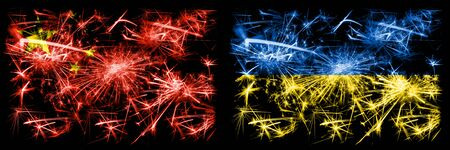 China, Chinese vs Ukraine, Ukrainian New Year celebration travel sparkling fireworks flags concept background. Combination of two abstract states flags.