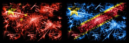 China, Chinese vs Democratic Republic of the Congo New Year celebration travel sparkling fireworks flags concept background. Combination of two abstract states flags.