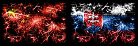 China, Chinese vs Slovakia, Slovakian New Year celebration travel sparkling fireworks flags concept background. Combination of two abstract states flags. 版權商用圖片