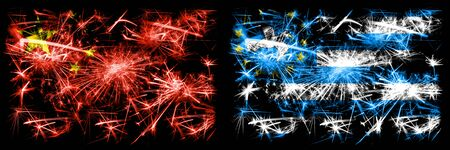 China, Chinese vs South Cameroon New Year celebration travel sparkling fireworks flags concept background. Combination of two abstract states flags.