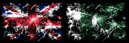 Great Britain, United Kingdom vs Pakistan, Pakistani New Year celebration travel sparkling fireworks flags concept background. Combination of two abstract states flags.