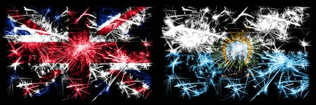 Great Britain, United Kingdom vs San Marino, Sammarinese New Year celebration travel sparkling fireworks flags concept background. Combination of two abstract states flags. Stock Photo