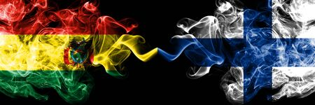 Bolivia, Bolivian vs Finland, FInnish smoky mystic states flags placed side by side. Concept and idea thick colored silky abstract smoke flags