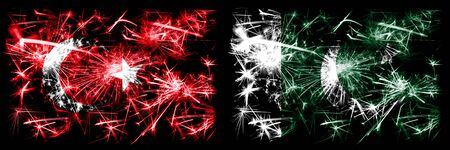 Turkey, Turkish vs Pakistan, Pakistani New Year celebration sparkling fireworks flags concept background. Combination of two abstract states flags.