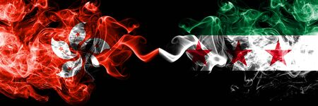 Hong Kong, China vs Syria, Syrian Arab Republic, opposition smoky mystic states flags placed side by side. Concept and idea thick colored silky abstract smoke flags