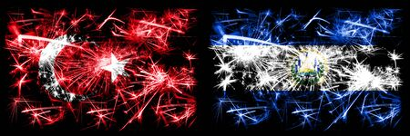 Turkey, Turkish vs El Salvador, Salvadorian New Year celebration sparkling fireworks flags concept background. Combination of two abstract states flags.