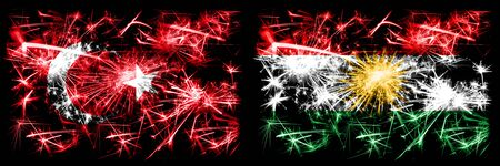 Turkey, Turkish vs Kurdistan, Kurdish New Year celebration sparkling fireworks flags concept background. Combination of two abstract states flags.