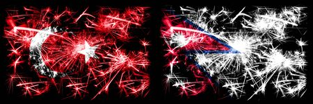 Turkey, Turkish vs Nepal, Nepalese New Year celebration sparkling fireworks flags concept background. Combination of two abstract states flags.